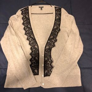 Torrid- Gray with black lace cardigan